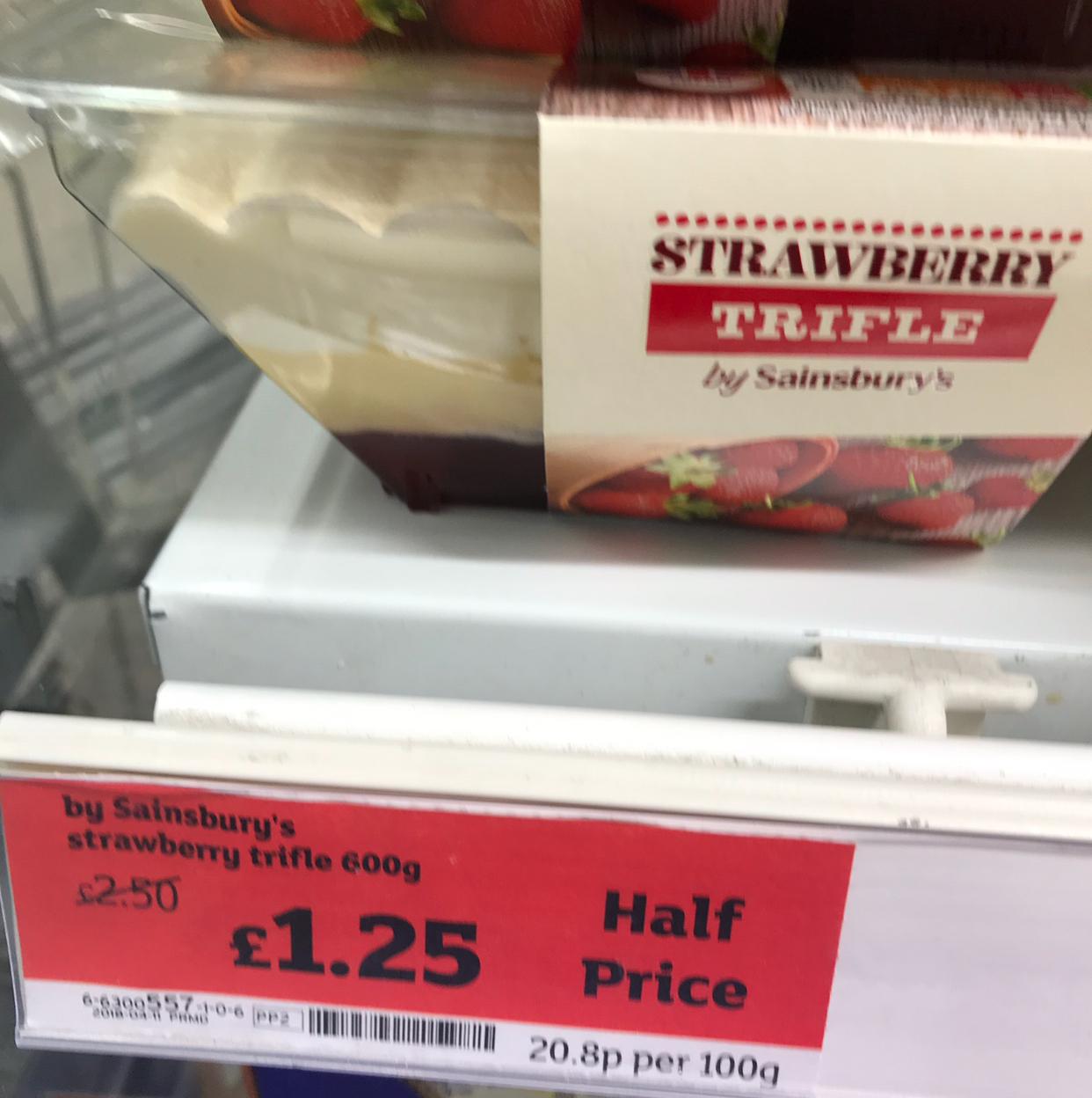 Sainsburys Strawberry Trifle 600g £1.25 (half price again)
