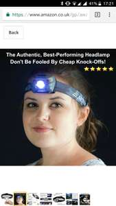 LED headlamp £8.47 Prime £12.46 Non Prime Sold by Aennon UK™ and Fulfilled by Amazon