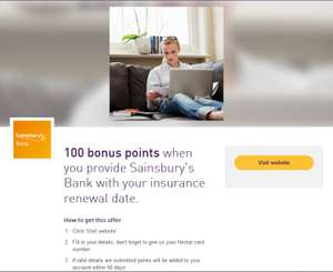 100 bonus Nectar points when you provide Sainsbury's Bank with your insurance renewal date