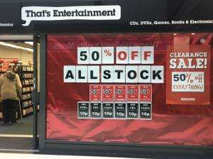 That's Entertainment Cardiff (Queens Arcade) closing down - NOW 75% off all stock