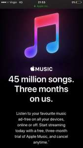 3 months free Apple Music for Free plus £5 quidco cash back