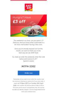 £3 Off £15 Spend (Card Payments Only) @ Just Eat