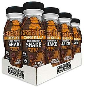 Grenade Carb Killa 330 ml Fudge Brownie High Protein Shake Bottles - Pack of 8 - £9.99 Prime / £14.74 Non Prime @ Amazon