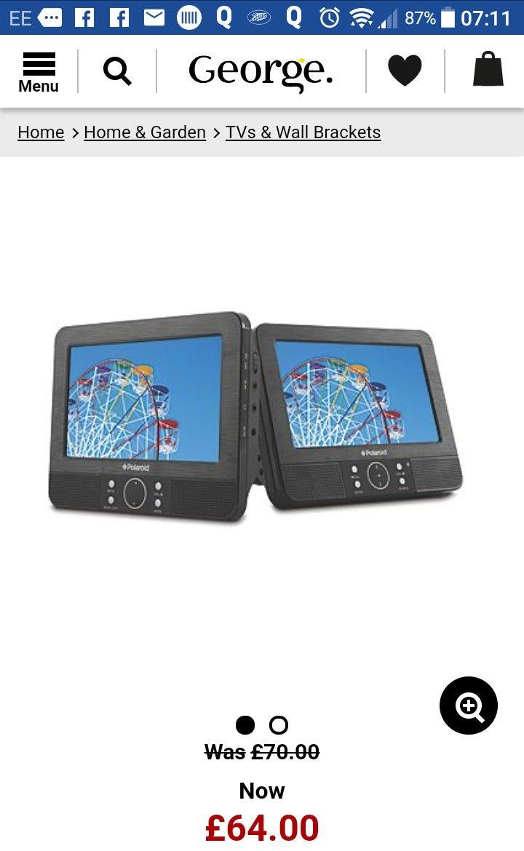 Polaroid 9 Inch Dual Screen Portable DVD Player £64 @ Asda George
