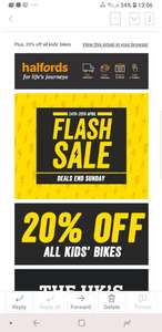Halfords flash sale 20% off kids bikes