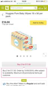 Huggies pure wipes 18 pack box. Buy 2 for £17.50 from Ocado. Works out 48p per pack
