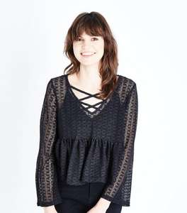 Black Lace Knit Lattice Front Top - Now £2 at New Look - Was £15.99 (£3.99 delivery)