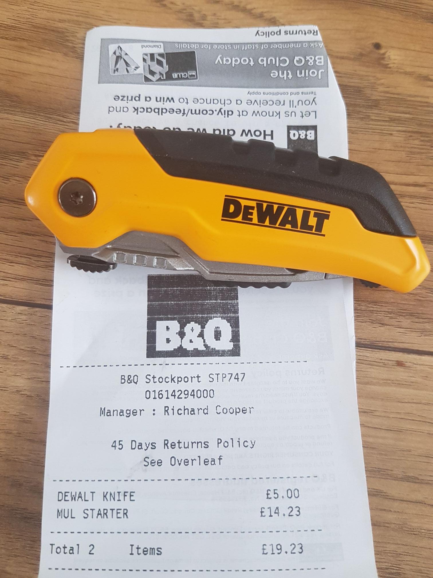 Dewalt folding utility knife £5 @ B & Q stockport