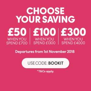 Save up £300 off your next holiday @ Thomas cook - £50 off when you spend £700 - £100 off when you spend £1300 - £300 when you spend £4000