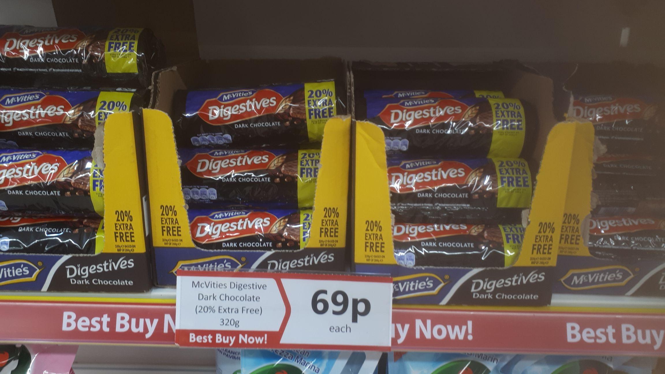 McVitie's dark chocolate digestives 320g. 59p instore @ Heron Foods