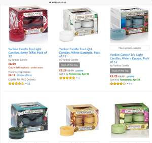 Yankee Candle 12 tealights at Amazon deal of the day £3.29 with Prime / £7.28 non prime