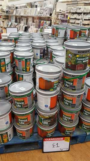 Fence paint for £1 at B&Q London Charlton fence paint
