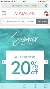 20% off all shoes @ Matalan - Free c&c