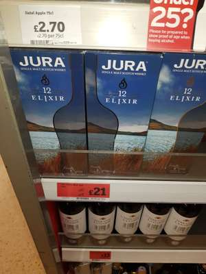 Jura Elixir 12 Year Old Malt Whisky 70cl £21 instore at Sainsbury's
