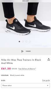 Ladies Air Max Thea in colour black size 2.5 & 3 for sale!! £61.50 @ Asos