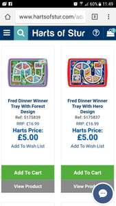 Dinner winner tray plate £5 / £7 delivered @ hartsofstur