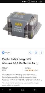 Maplins 24 AAA batteries 70% off £3 instore