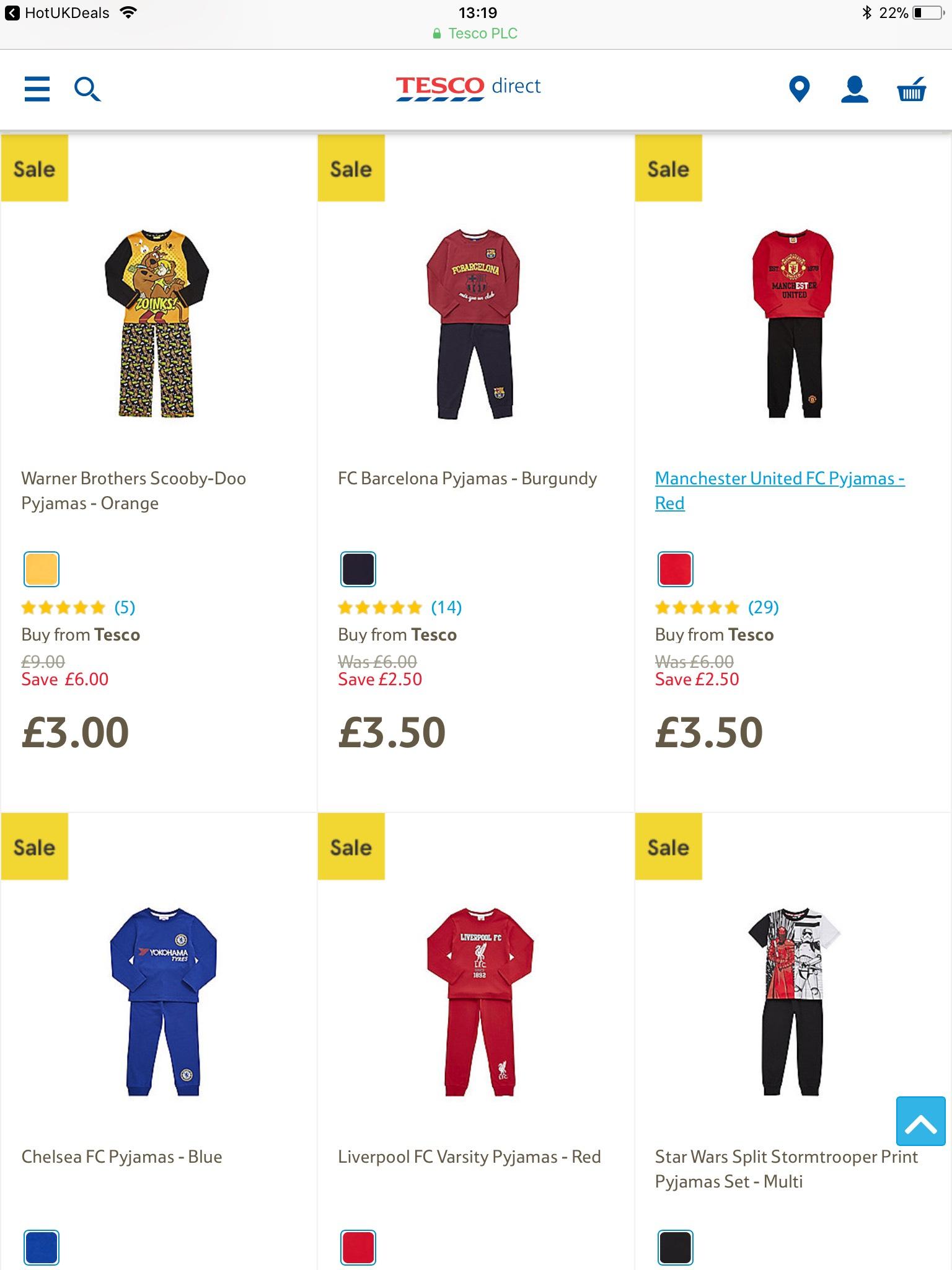 Various boys pj's SALE @ tesco direct - e.g Scooby-Doo Pyjamas £3.00