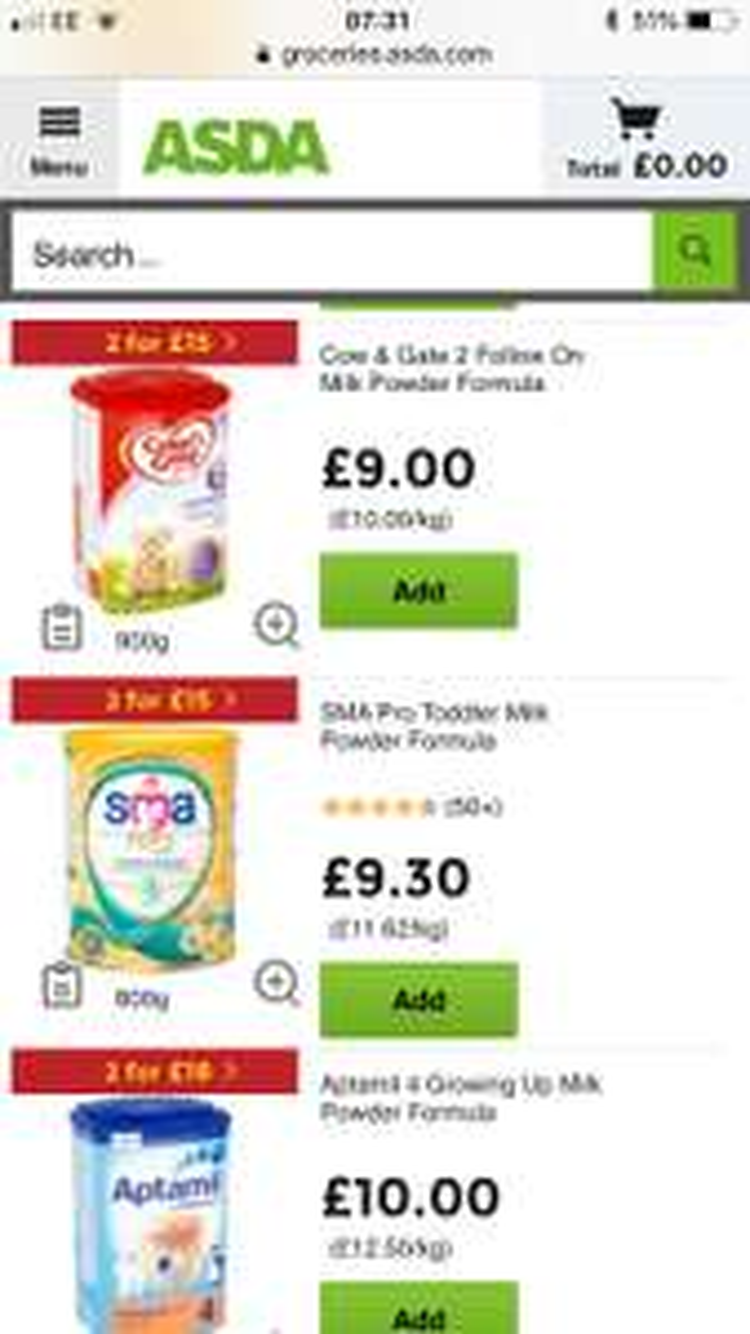 Formula milk stage 2 upwards - 2 for £15 at Asda