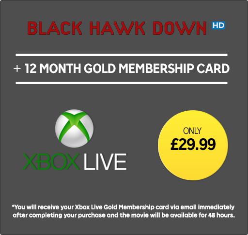 12 Months Xbox Live Membership + Black Hawk down HD Rental £29.99 @ Rakuten