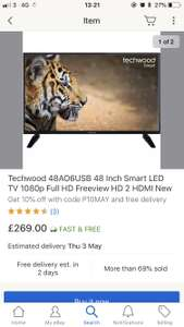 Now this a bargain tv - Techwood 48AO6USB 48 Inch Smart LED TV 1080p Full HD Freeview HD 2 HDMI New £242.10 with code @ AO / Ebay