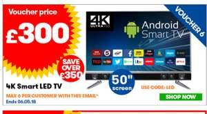 50 4k android tv from JTF - £300