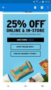 25% off @TheBodyShop - online and in store