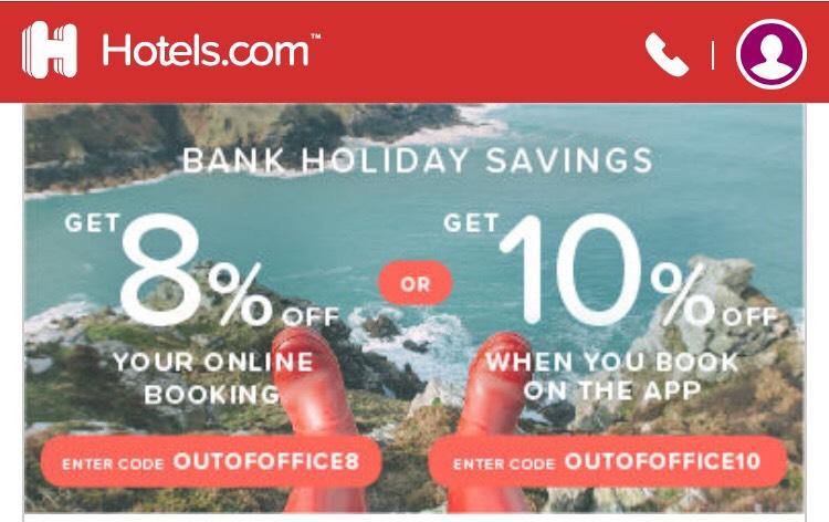 Hotels.com 8% off & 10%off