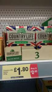 2 packs of Country Life Butter 250g (500g total) for £2.50 - Iceland