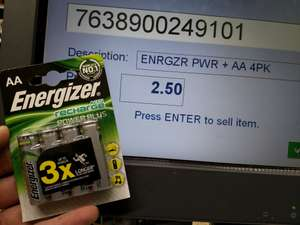 AA Energizer accu Recharge Batteries (Co-Operative) £2.50