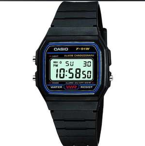 Casio Classic F-91W-1YER LCD Classic Digital Watch with Chrono, Timer, Alarm, LED etc. Water Resistant - Black, for £8.37 / £8.27 (2 pieces bought)delivered @ 7dayShop