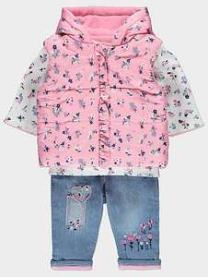 3 piece girls 9-12 months set- gilet & top & jeans £8 was £16 @ Asda