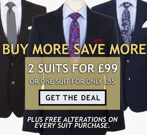 Slaters - 2 Suits with free alteration for £99 plus possible 10% discount