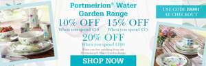 10% off £50 15% off £75 20% off £100 Spend on Portmeirion Water Garden Range with code @ Scotts of Stow