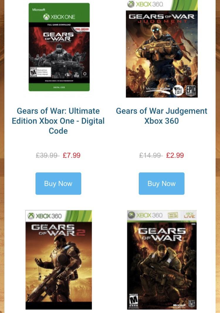 Gears of war £2.99 to £7.99 @ CD keys