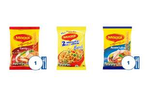 Maggi 2 Minute Curry / Massala / Assam Laksa Noodles 79g - 4 for £1 @ Tesco