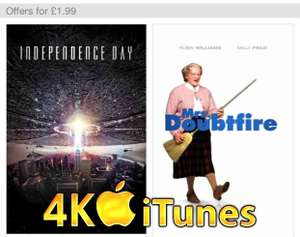 4K Movies on iTune for less than £5.00 inc: Independence Day/Jurassic Park/Apollo 13/The Mummy £1.99 @ Itunes