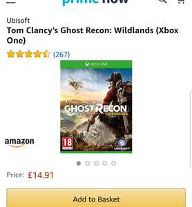 Tom Clancy's Ghost Recon: Wildlands (Xbox One) £14.91 @ Amazon prime now - £3.99 delivery