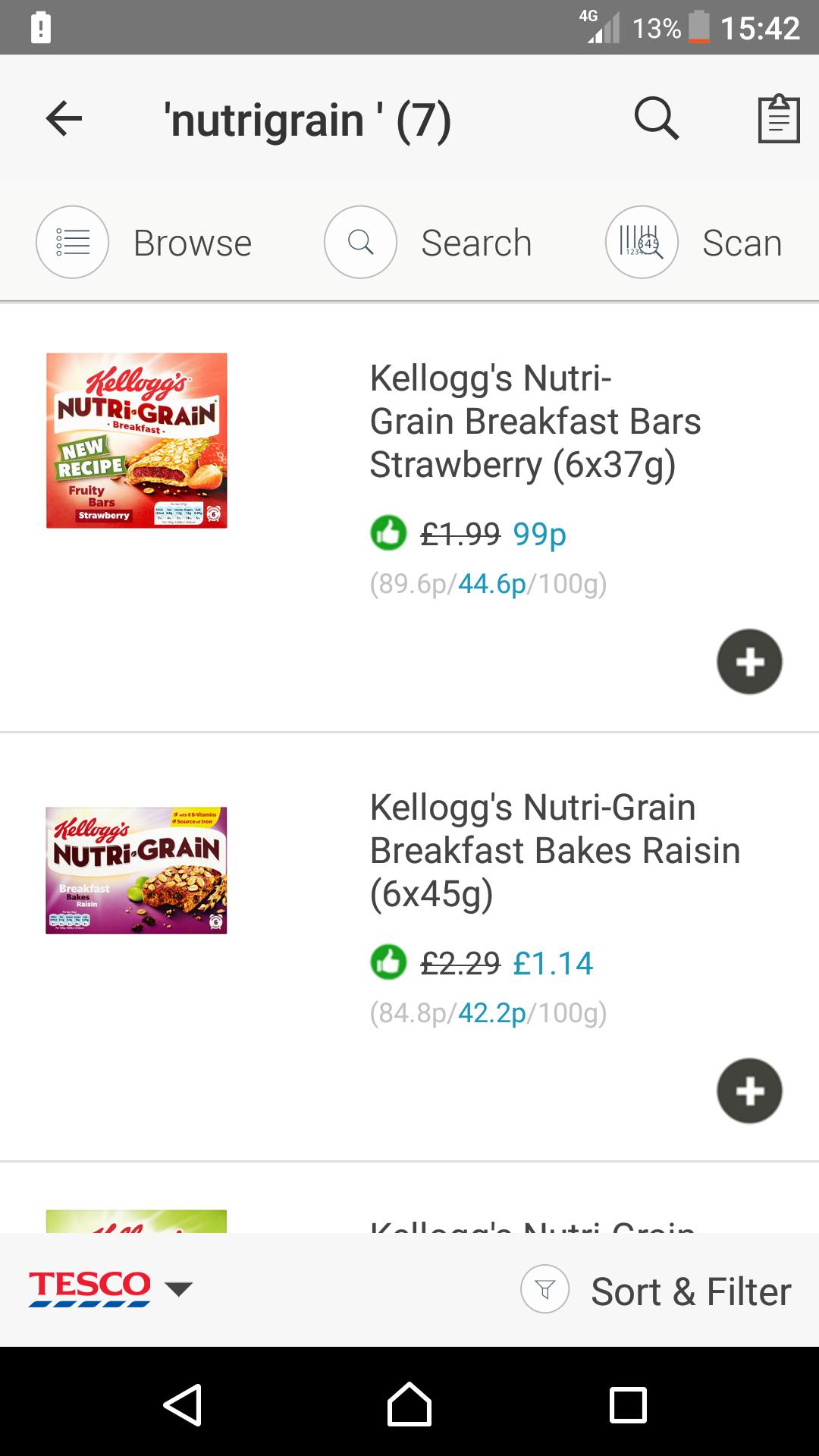Kellogs nutrigrain bars 6pk @ tesco.co.uk