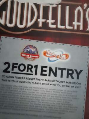 2 for 1 entry ticket with goodfellas pizza to Alton towers or Thorpe park resort with goodfellas pizzas - (£1.25 @ Asda)