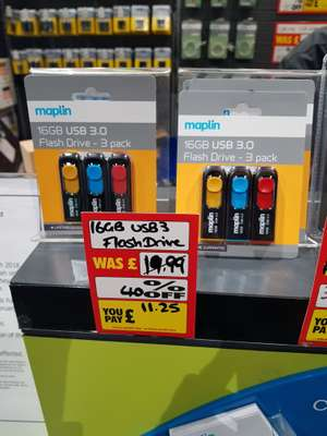Maplin 3x16Gb USB 3.0 memory sticks £11.25