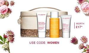 Free his or hers clarins bag with purchase of £60