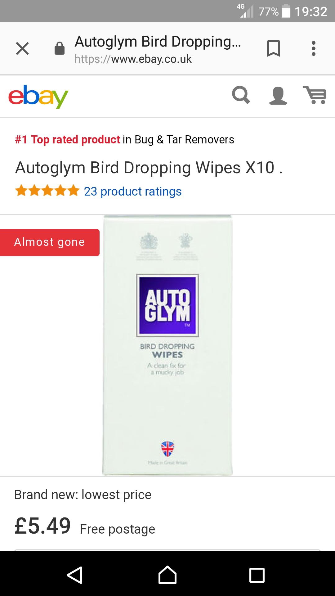 Auto glym Bird dropping wipes - £5.49 @ ebay (seller statuscarcare)