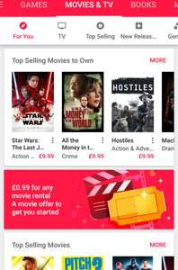 Rent a movie for £0.99 (maybe account specific) @ Google Play Store