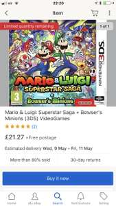 Mario and Luigi superstar saga 3DS PREOWNED MusicMagpie eBay - £21.27