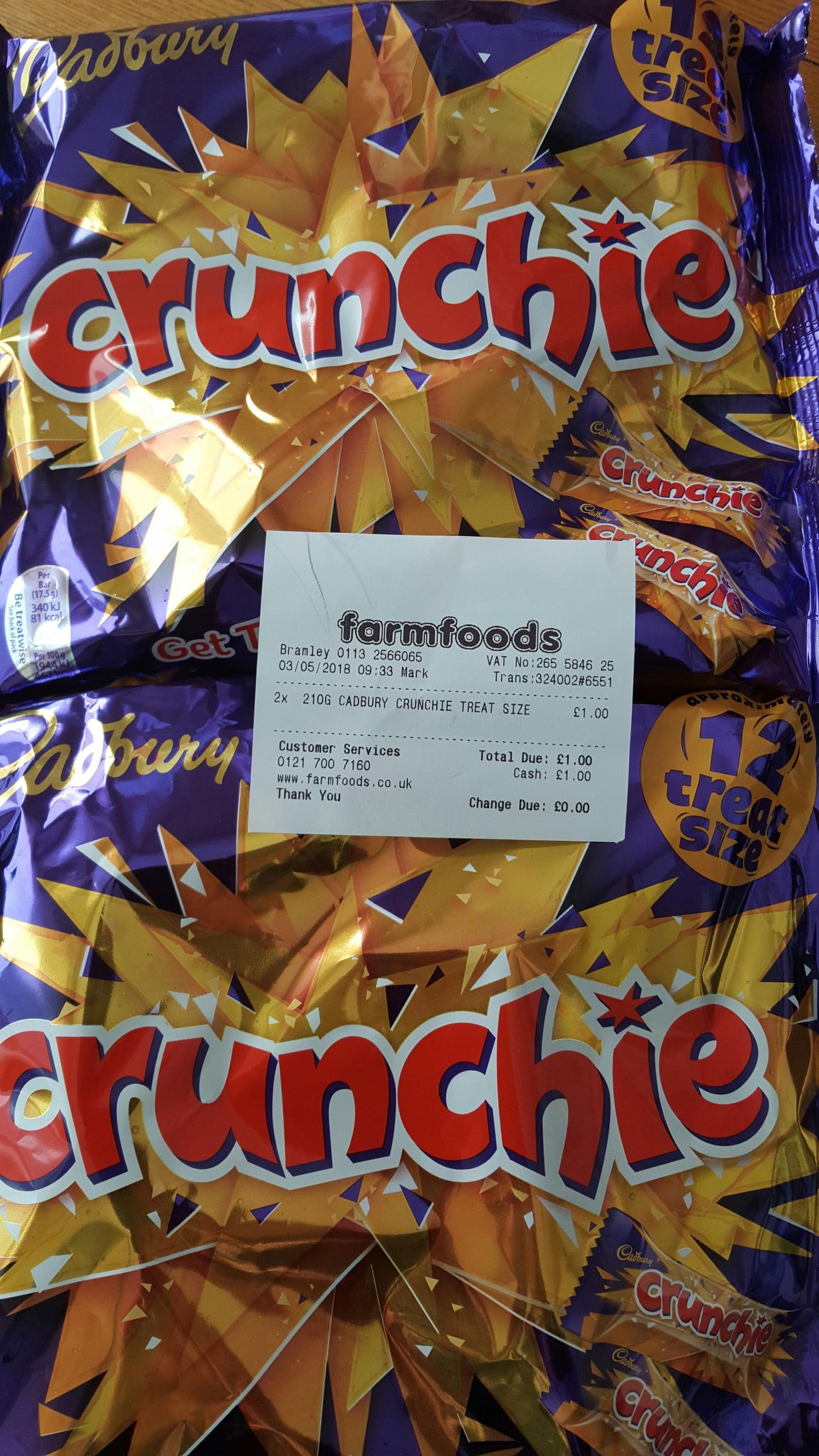 210g Cadbury Crunchie Treat Size only 50p @ Farmfoods  Bramley