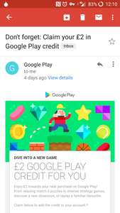 £2 Free Google Play Store Credit - Check Emails
