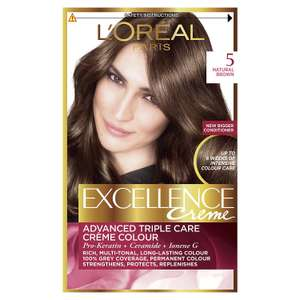 Amazon: L'Oréal Excellence Creme 5 Natural Brown Hair Dye, Pack of 3 @ £5 Only for Prime members - Amazon
