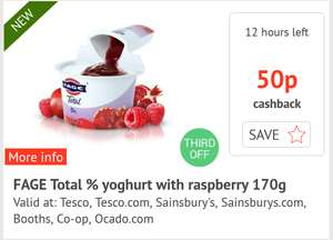 Fage Total 0% Fat Free Yogurt 170g Raspberry Pomegranate - 55p @ Sainsbury's - 50p cashback via checkoutsmart