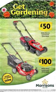 Webb Lawnmowers - Electric 32cm Blade £50 - Petrol 40cm Blade £100 - MORRISONS - Instore Only